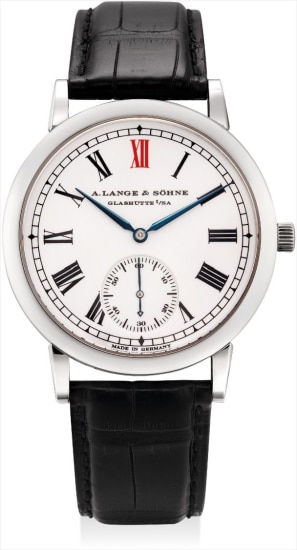 A fine and rare platinum limited edition wristwatch with enamel dial, made to commemorate the 10th anniversary of the re-establishment of A. Lange & Söhne