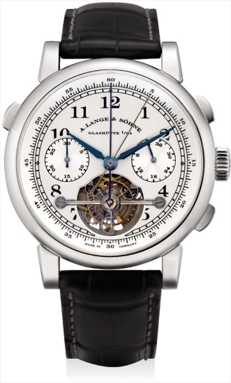 A very fine, rare and important platinum limited edition tourbillon double split seconds chronograph wristwatch with fusée-and-chain transmission