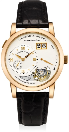 A very fine and rare pink gold limited edition tourbillon wristwatch with date and power reserve