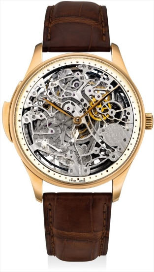 A fine and rare pink gold limited edition skeletonised minute repeating wristwatch