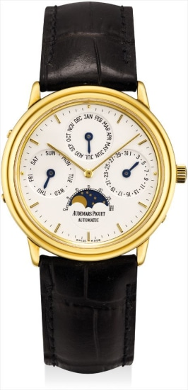 A fine yellow gold perpetual calendar wristwatch with moon phases