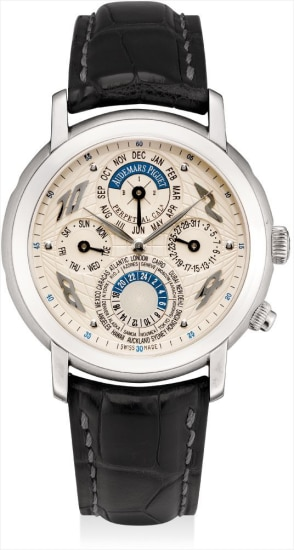 A fine platinum perpetual calendar worldtime wristwatch with 24 hours and leap year indicator