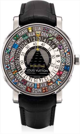 A rare and unusual white gold worldtime wristwatch