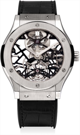A fine and rare titanium limited edition skeletonised tourbillon wristwatch