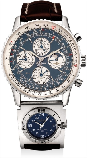 A rare and unusual platinum limited edition perpetual calendar dual time chronograph wristwatch with moon phases, season indicator, 24 hours, 52 weeks display, original certificate and fitted presentation box