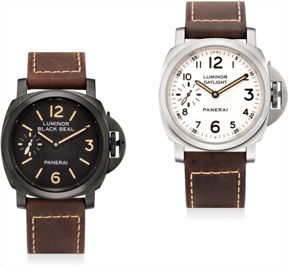 A rare set of two limited edition cushion-shaped wristwatches, including a stainless steel wristwatch and a DLC-coated wristwatch