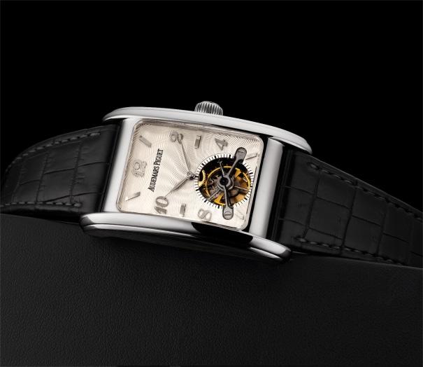 A very fine and rare white gold rectangular tourbillon wristwatch