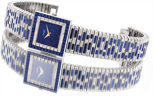 A fine and very rare white gold and lapis lazuli hardstone-set bracelet watch