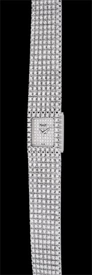 A lady's fine white gold and diamond-set square bracelet watch