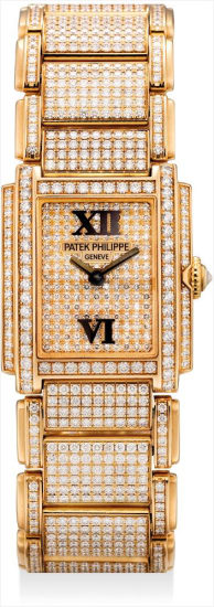 A lady's fine and rare pink gold and diamond-set rectangular bracelet watch