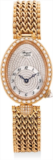 A lady's fine and rare pink gold and diamond-set oval bracelet watch with pavé-set diamond and mother-of-pearl dial