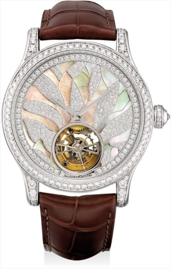 A fine and rare white gold and diamond-set tourbillon wristwatch with mother-of-pearl dial