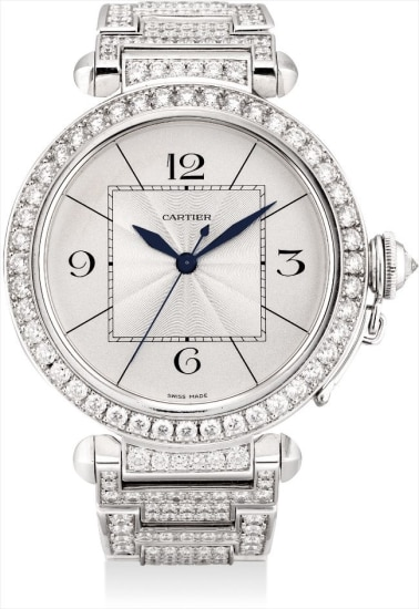 A fine and large white gold and diamond-set wristwatch with sweep centre seocnds and bracelet