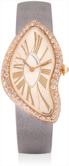 A lady's very rare and unusual pink gold and pink diamond-set wristwatch with original certificate and fitted presentation box