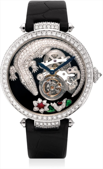 A fine and highly attractive white gold and diamond, ruby and emerald-set limited edition tourbillon wristwatch with original certificate and fitted presentation box