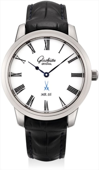 A fine white gold wristwatch with Meissen porcelain dial