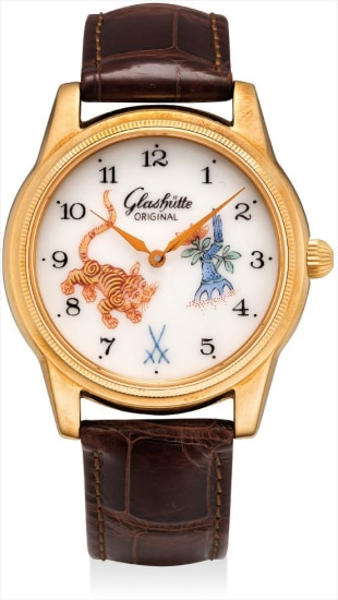 A fine and rare pink gold limited edition wristwatch with Meissen porcelain dial
