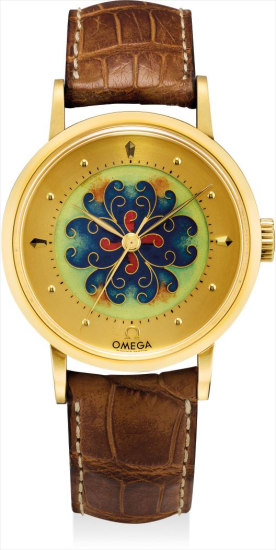 A rare yellow gold limited edition wristwatch with sweep centre seconds, cloisonné enamel dial and original certificate, made to commemorate Omega's 100th aniversary