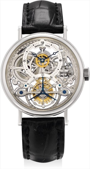 A fine platinum skeletonised tourbillon wristwatch