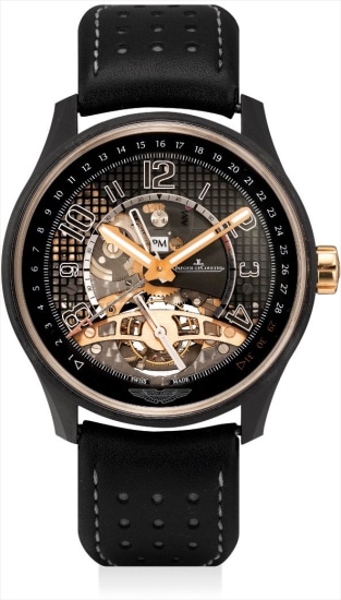 A fine and rare pink gold and ceramic limited edition semi-skeletonised tourbillon dual time wristwatch with date and day and night indicator