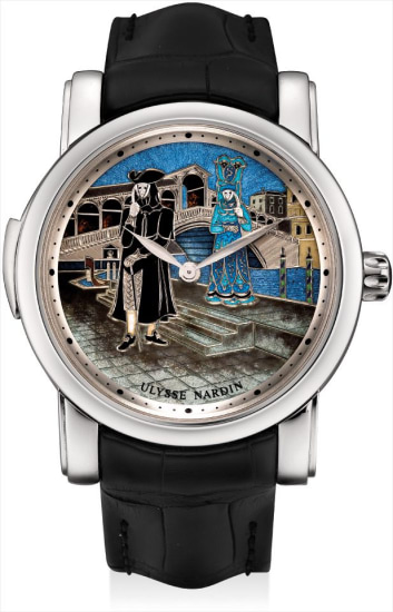 A very fine and rare platinum limited edition minute repeating automata wristwatch with champlevé enamel dial