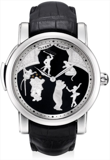 A very fine and rare platinum limited edition minute repeateing automata wristwatch with onyx dial