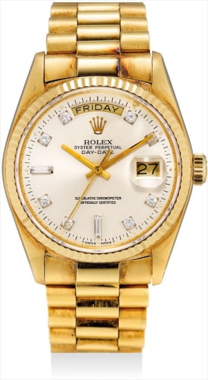 A fine yellow gold and diamond-set calendar wristwatch with sweep centre seconds, bracelet, original guarantee and fitted presentation box