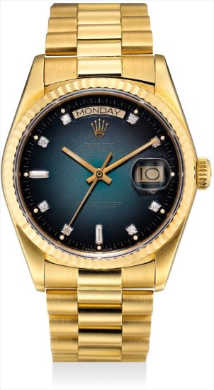 A fine and rare yellow gold and diamond-set calendar wristwatch with sweep centre seconds, blue dégradé 'Stella' dial and bracelet