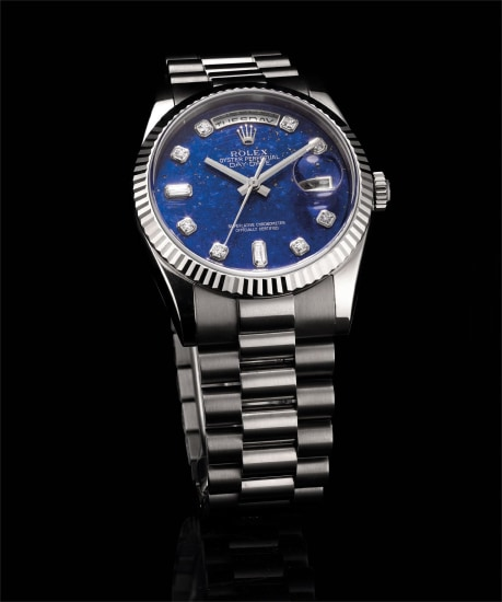 A fine and very rare white gold and diamond-set calendar wristwatch with sweep centre seconds, lapis lazuli hardstone dial and bracelet