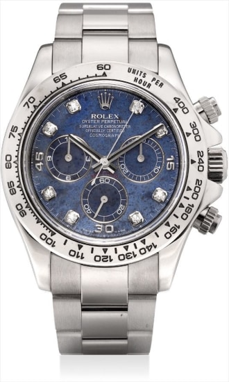 A fine and rare white gold and diamond-set chronograph wristwatch with sodalite hardstone dial and bracelet