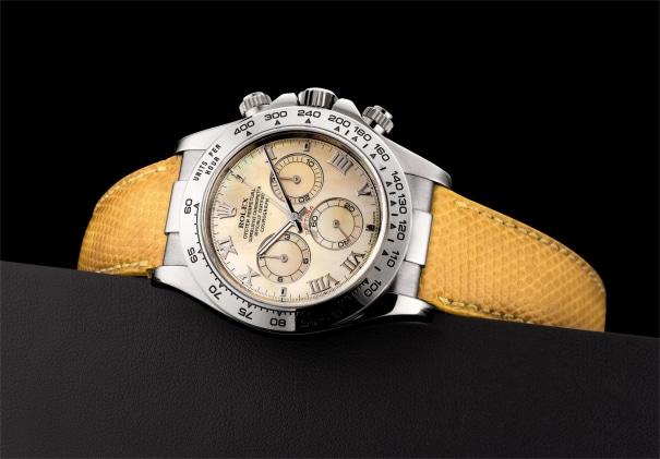 A fine and rare white gold chronograph wristwatch with yellow mother-of-pearl dial