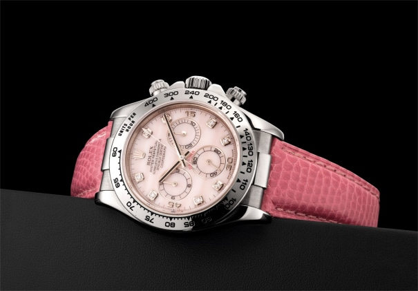 A fine and rare white gold and diamond-set chronograph wristwatch with pink mother-of-pearl dial