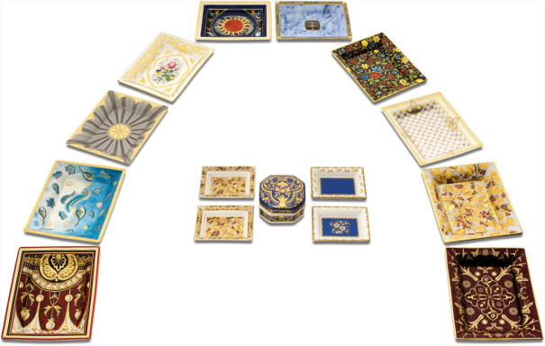 A fine and rare complete set of commemorative limoges procelain and enamel dishes and box dating from 1997 all the way through to 2009