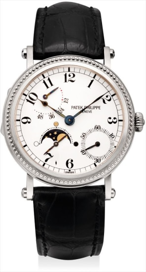 A fine and rare white gold wristwatch with power reserve, date and moon phases