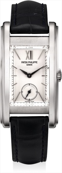 A fine and very rare platinum limited edition rectangular wristwatch, made to commemorate the opening of Patek Philippe's salon in Geneva in 2006