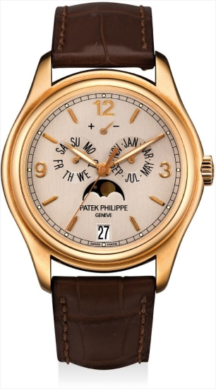 A fine and rare pink gold limited edition annual calendar wristwatch with sweep centre seconds, moon phases, power reserve, silicon escape wheel and silinvar spiromax balance spring, original certificate and fitted presentation box