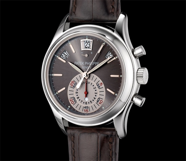 A fine platinum annual calendar chronograph wristwatch with with power reserve, day and night indicator, original certificate and presentation box