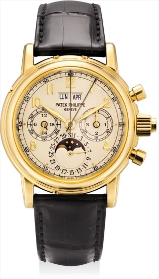An extremely fine and rare yellow gold perpetual calendar split seconds chronograph wristwatch with moon phases, 24 hours, leap year indicator, original certificate and additional case back