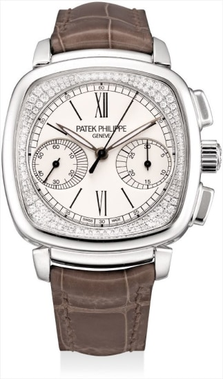 A lady's very fine and rare white gold and diamond-set square chronograph wristwatch with original certificate