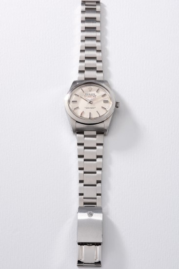 A fine and rare stainless steel anti-magnetic wristwatch with sweep center seconds, additional Rolex Jubilee bracelet, gurantee and box