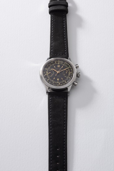 A very rare and attractive stainless steel chronograph wristwatch with telemeter and tachymeter scales