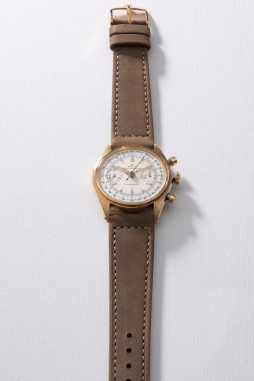 A very rare and attractive yellow gold chronograph wristwatch with telemeter and tachymeter scales