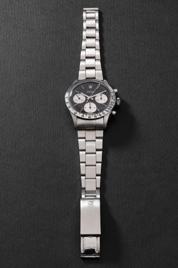 """A very fine and attractive stainless steel chronograph wristwatch with black """"cherry"""" dial and bracelet"""