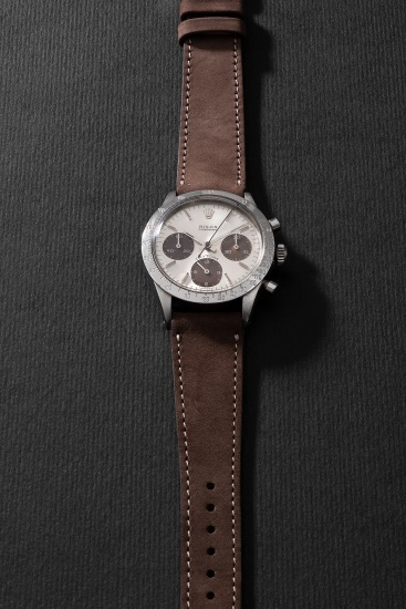 """A highly attractive and rare stainless steel chronograph wristwatch with """"tropical"""" subsidiary dials"""