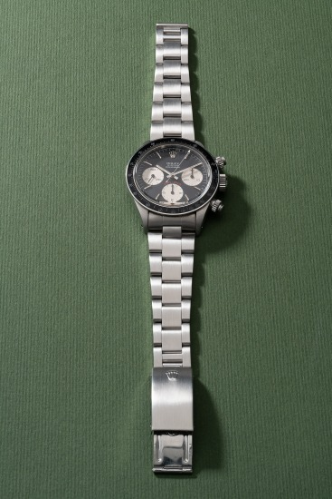 """An attractive and extremely rare stainless steel chronograph wristwatch with """"1st Place – 1981 Rolex – J.B. Hudson Classic"""" case back and bracelet"""