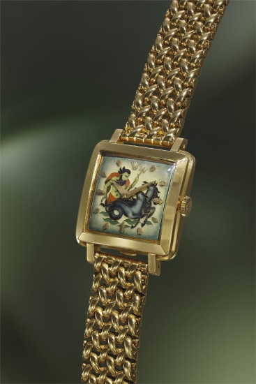 A highly rare, possibly unique and exceptional yellow gold square wristwatch with cloisonné enamel dial depicting Neptune and heavy bracelet