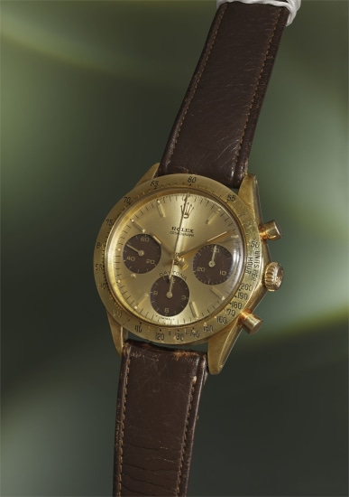 A fine, very rare and beautiful yellow gold chronograph wristwatch with 'tropical' subsidiary registers and leather strap