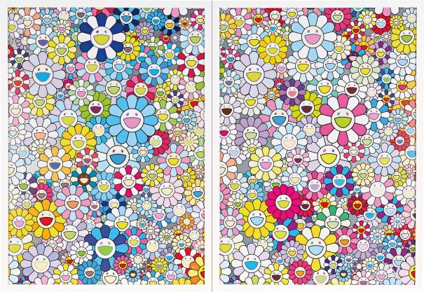 Two Works: (i) Champagne Supernova: Blue; (ii) Champagne Supernova: Multicolour + Pink and White Stripes