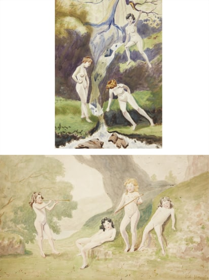 Louis Michel Eilshemius - Two works: Three Nudes by a Brook