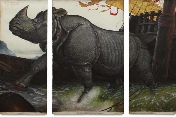 Walton Ford - Loss of the Lisbon Rhinoceros, 2008 | Phillips